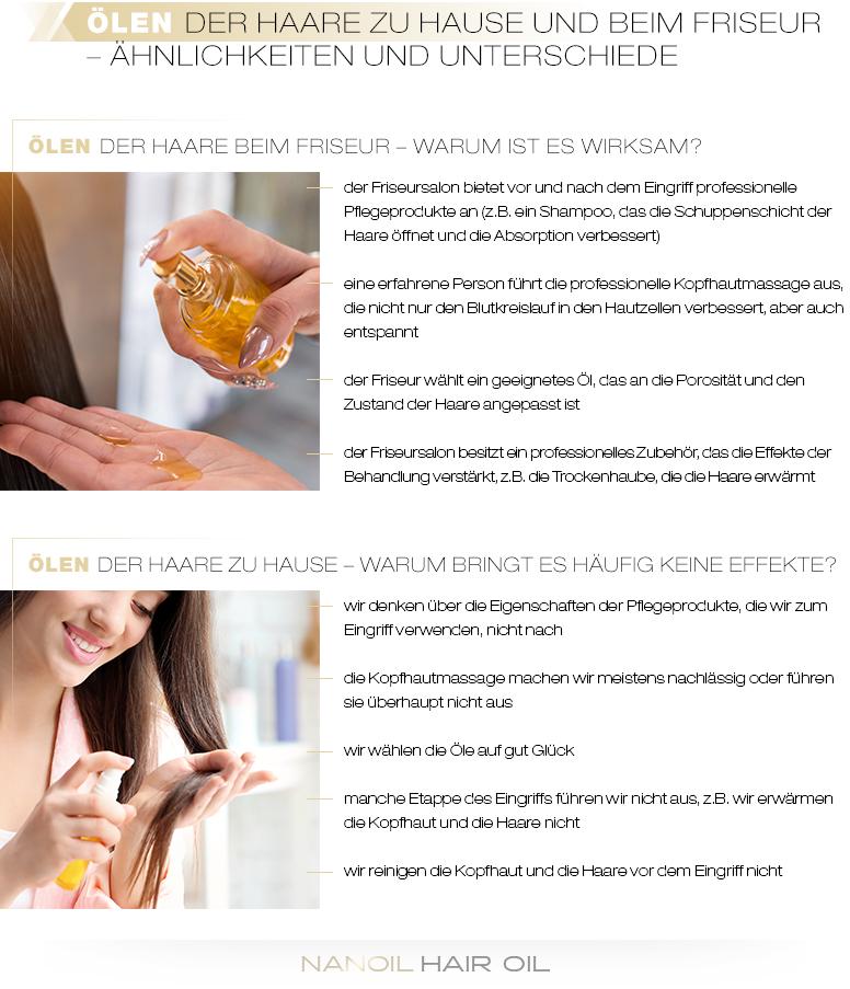 Ölen der Haare beim Friseur gegen Ölen der Haare zu Hause