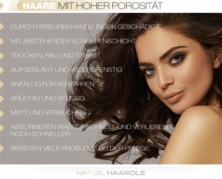 Haare mit hoher Porosität