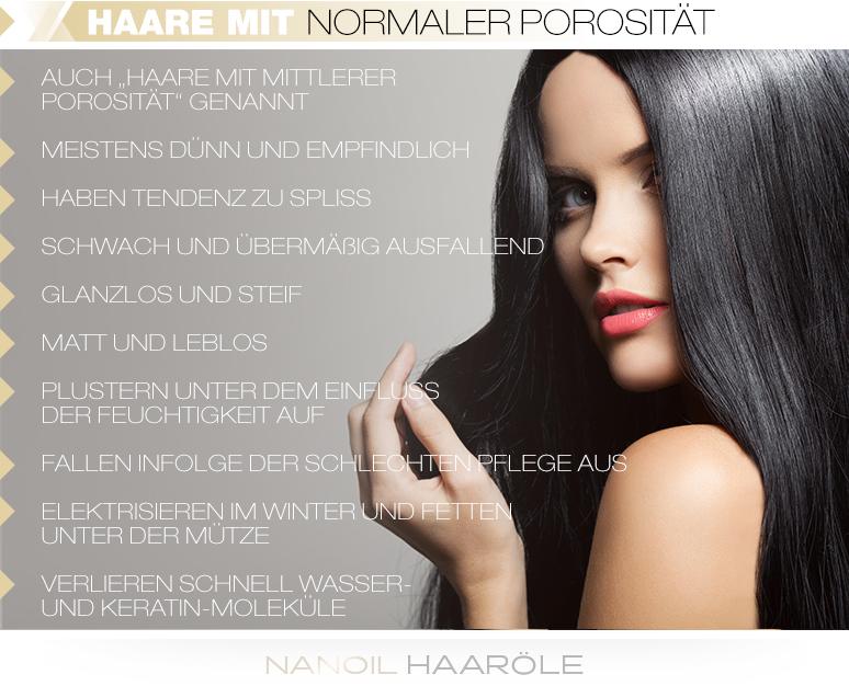Haare mit normaler Porosität