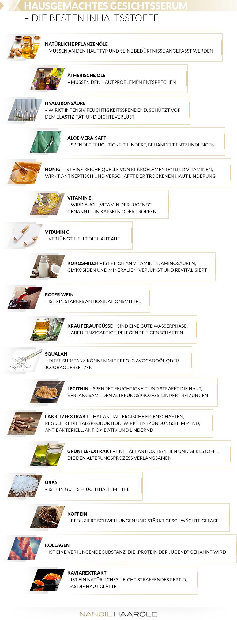 Hausgemachtes Serum - die besten Inhaltsstoffe